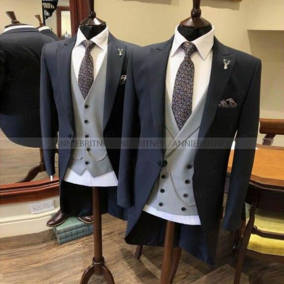 الكلاسيكية الرسمي الصباح دعوى الرجال 3 قطع يرتدى مخصص حجم و ألوان أفضل رجل العريس بدلة الزفاف سترة سترة مع السراويل مجموعة