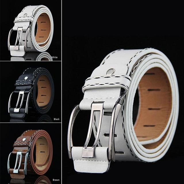 3.5*105cm Men Women Vintage Fashion Metal Buckle PU Leather Waist Belt Business Jeans Pants Waistband White/Black/Brown