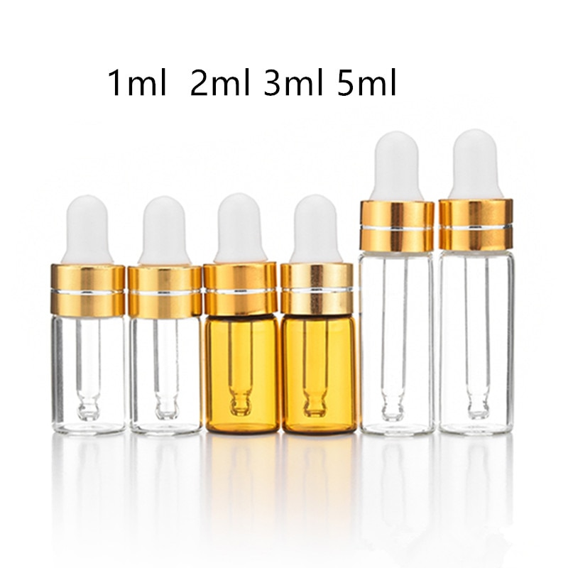 50 pçs/lote 1ml 2ml 3ml 5ml ambarino vidro conta-gotas garrafa de óleo essencial exibição frascos soro pequeno perfume marrom amostra teste garrafa