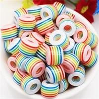 20 pcs color wholesale bulk big hole rainbow beads fit pandora bracelet charm women girls rondelle bead craft for jewelry making