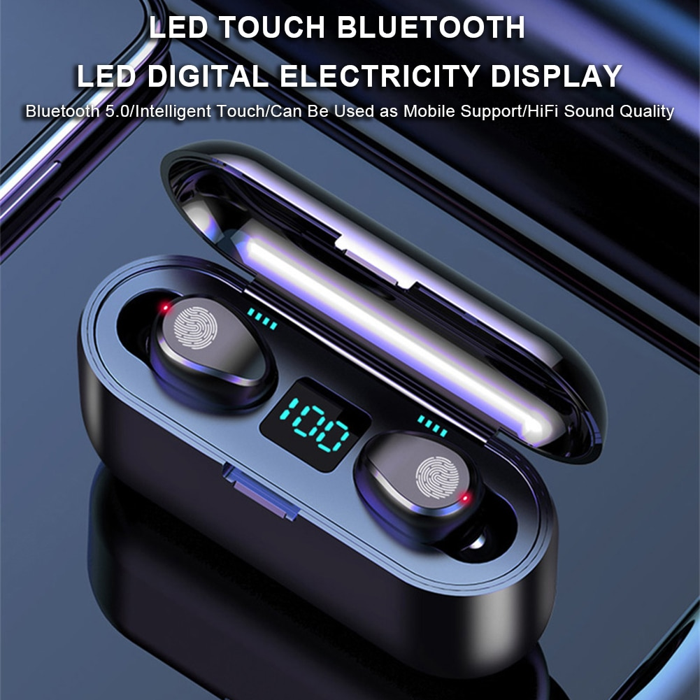 Mini Bluetooth 5,0 auriculares inalámbricos Pantalla de alimentación Control táctil auriculares estéreo a prueba de agua auriculares deportivos Bluetooth caja de auriculares