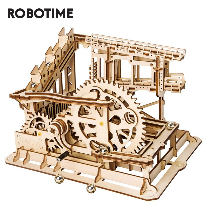 Robotime-أحجية رخامية ROKR DIY للأطفال والكبار ، أحجية خشبية ثلاثية الأبعاد مع تروس ، نموذج كوستر Cog ، مجموعة البناء ، LG502