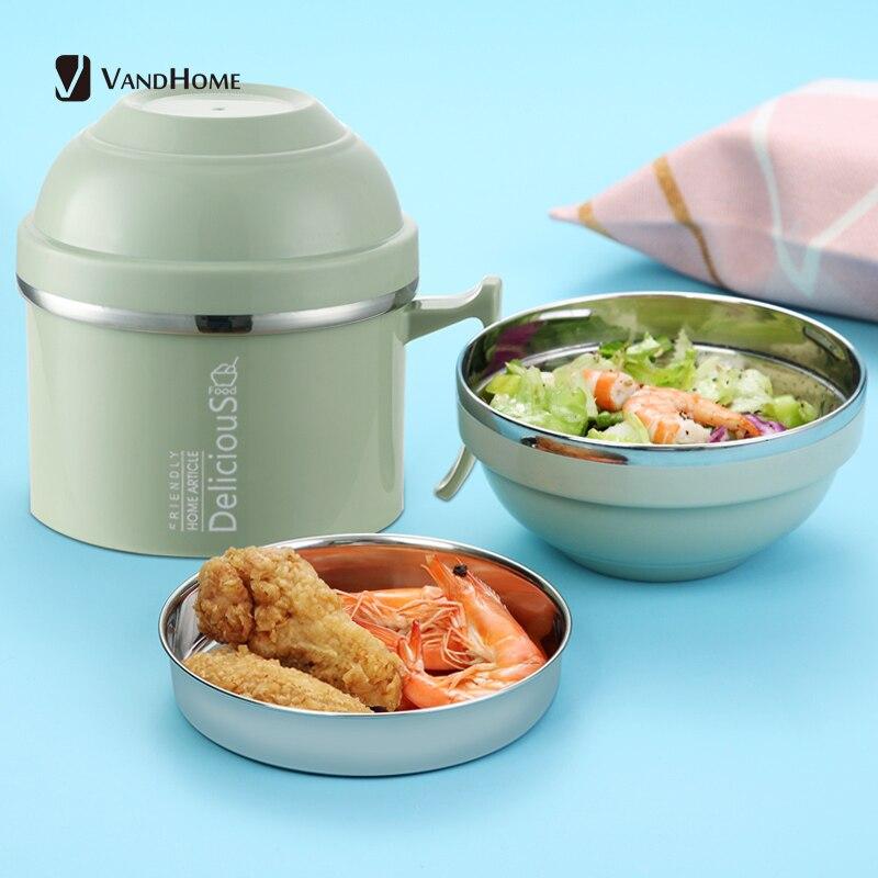 VandHome-صندوق غداء ياباني إبداعي ، حاوية طعام للأطفال ، صندوق غداء بينتو من الفولاذ المقاوم للصدأ ، كوب المعكرونة الفورية للمطبخ