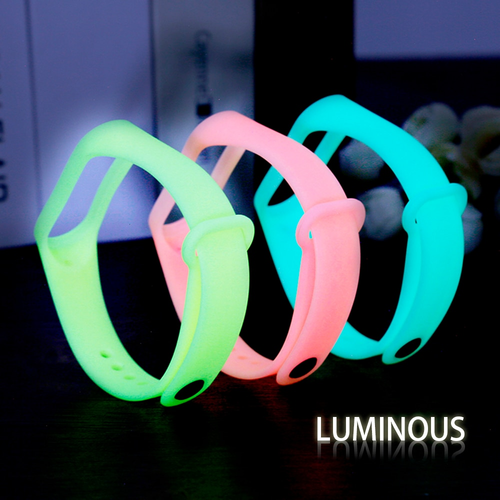 YAYUU Luminous Glowing Silicone Wrist strap for Xiaomi Mi Band 3 4 5 Smart Watch Bands Replacement B