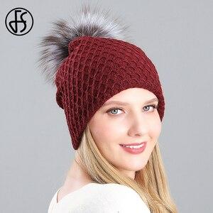 FS 2020 Winter Women Real Fur Pom Pom Pearl Beanie Hat Casual Velvet Skullies Beanies Rabbit Knitted Hats Slouchy Ski Cap