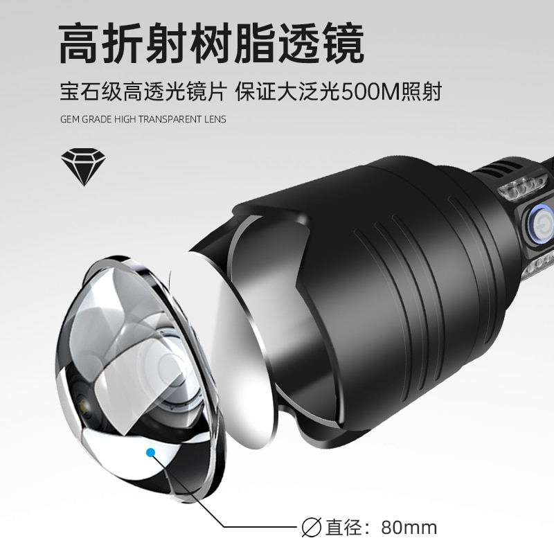 Strong Light Flashlight Rechargeable Bright Outdoor Zoom Searchlight Self Defense Camping Lanterna Daily Necessities EB50SD enlarge