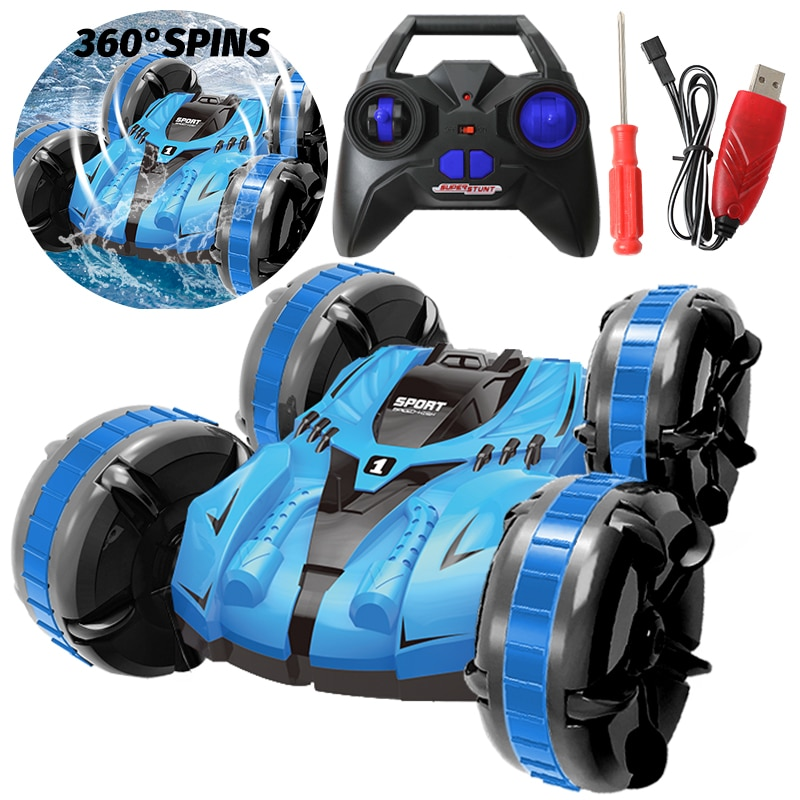 4WD RC coche Buggy modelo potente acrobacias anfibias Drives 360 grados Flips Control remoto coche Hobby niños juguetes para regalos