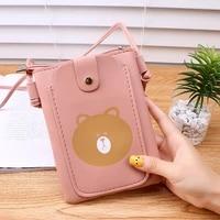 women wallet mobile phone bag buckle bag color large capacity wallet leather zipper wallet cartoon little bear coin purse long
