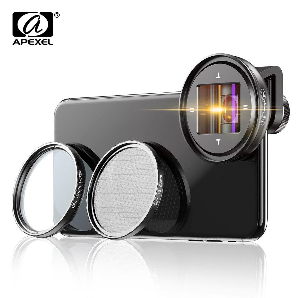 APEXEL professionelle 1,33 x anamorph objektiv HD WideScreen moive Objektiv Video Vlog kamera cpl objektiv für Samsung Huawei smartphones Camcorder-Objektive    -