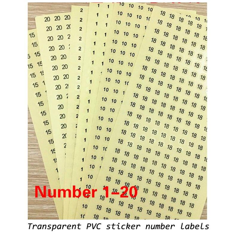 Etiquetas transparentes do tamanho da etiqueta do pvc 1-30 número vestuário acessórios tamanho tags 0.8cm diâmetros 1500 pces/a muito