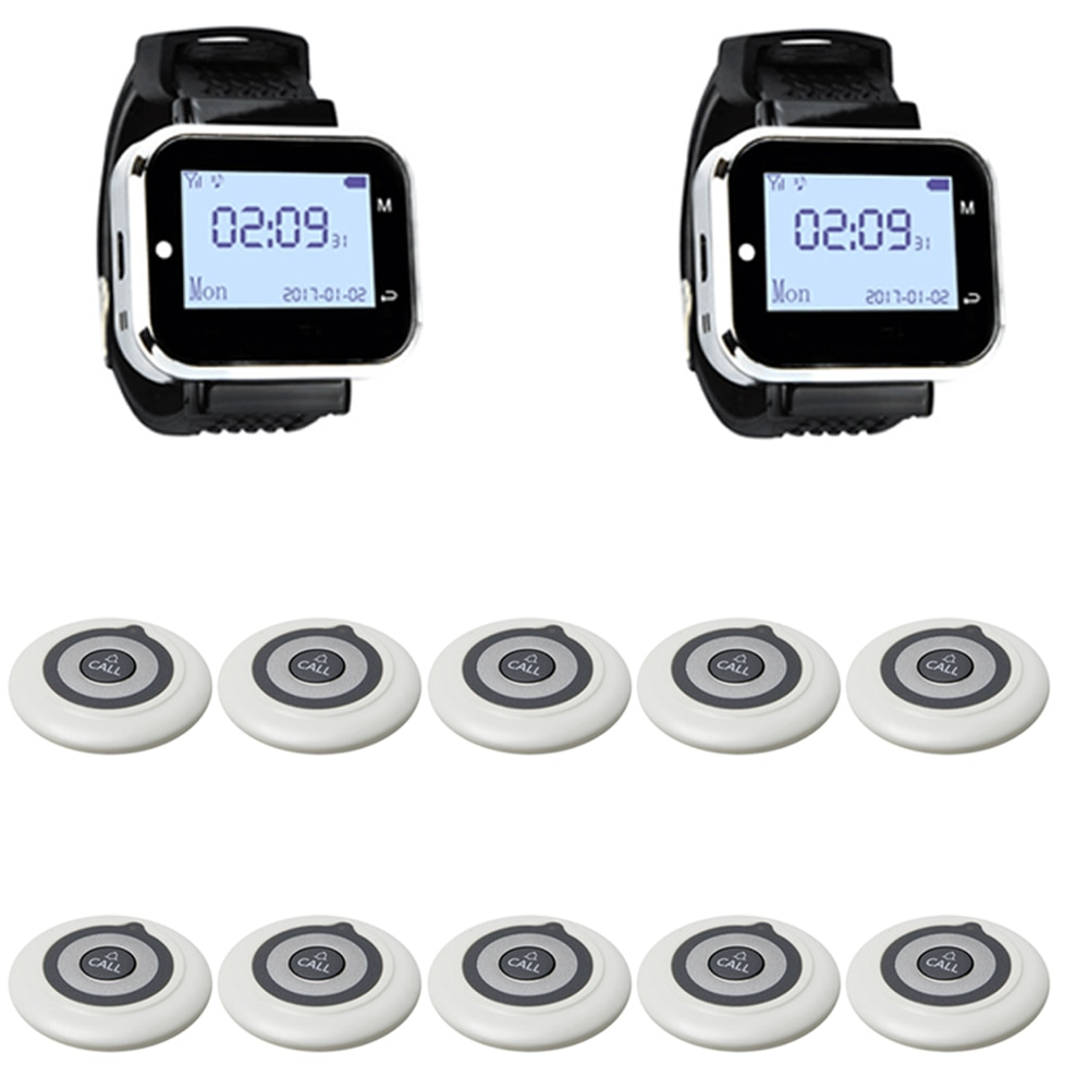 JINGLE BELLS 2 Watch Receiver 10 Call Button Wireless Waiter Calling System For Restaurant Service Pager System Hotel Call Bell