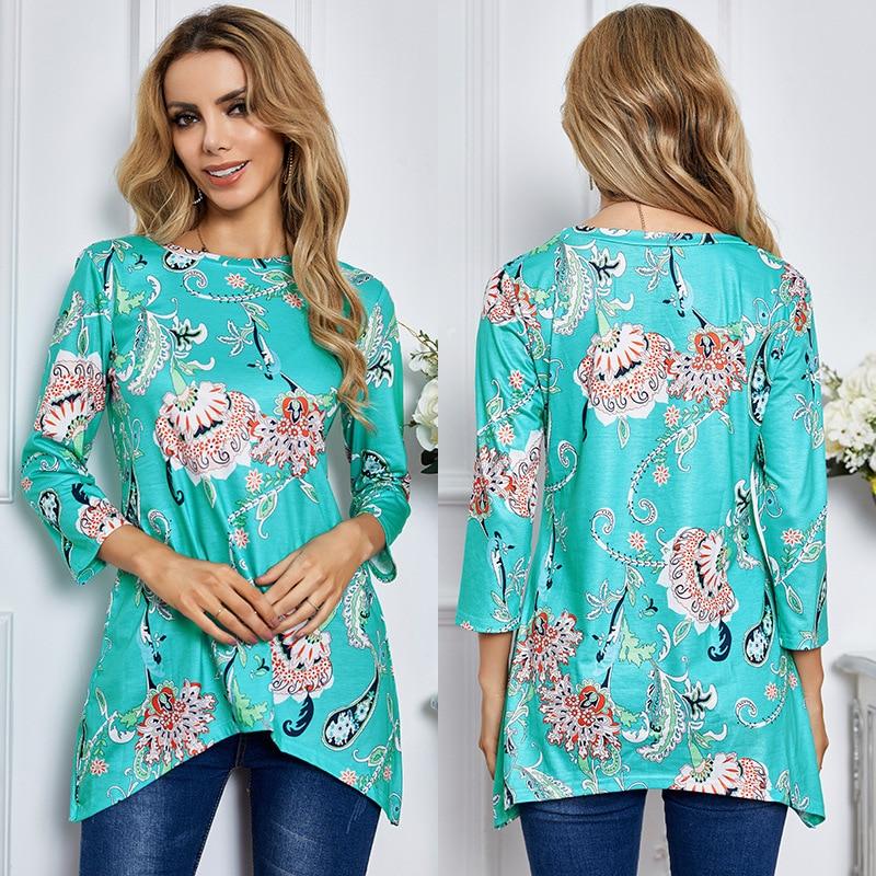 Camisa de manga comprida das camisas das mulheres da flor azul impresso em torno do pescoço casual solto longo comprimento floral praia estilo femme camisetas