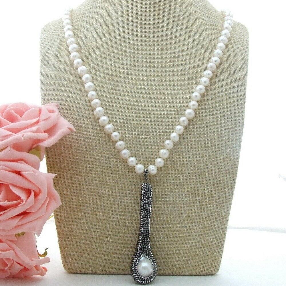 H011203 37 collar perla redonda blanca Keshi colgante de perlas recortado con marcasita negra