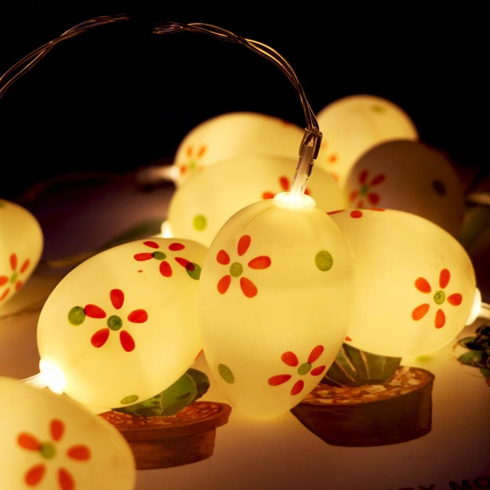 colorido ovo de pascoa lampada 10 led flor pontos corda de fadas lightsb attery alimentado