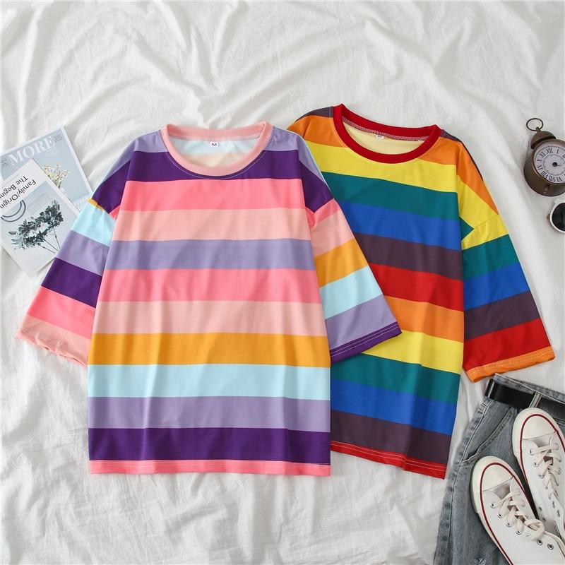 summer new Ins Hot stripe short women t-shirts harajuku rainbow Kawaii Plus Size Tops Cotton street clothes women shirts FD5085