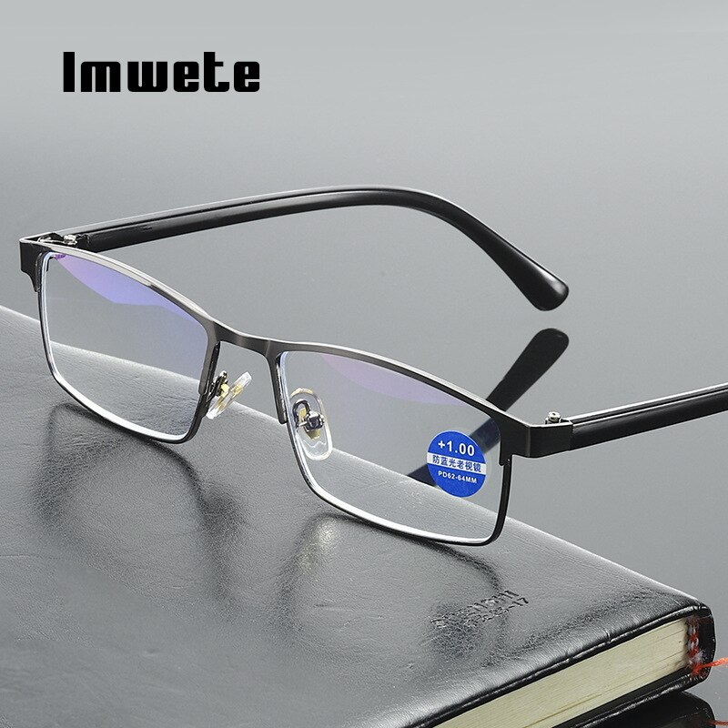 Imwete anti azul-ray óculos de leitura masculino feminino anti-fadiga óculos de computador lente clara presbiopia óculos diopter + 1.0 + 4.0