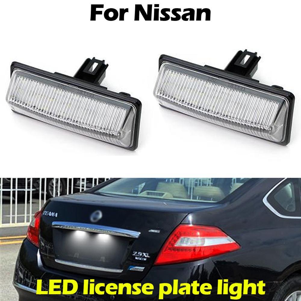 Para Nissan TEANA TIDDA Altima JX35 PATHFINDER MURANO SENTRA NV350 PULSAR SUNNY SYLPHY luz de matrícula de coche lámpara de matrícula