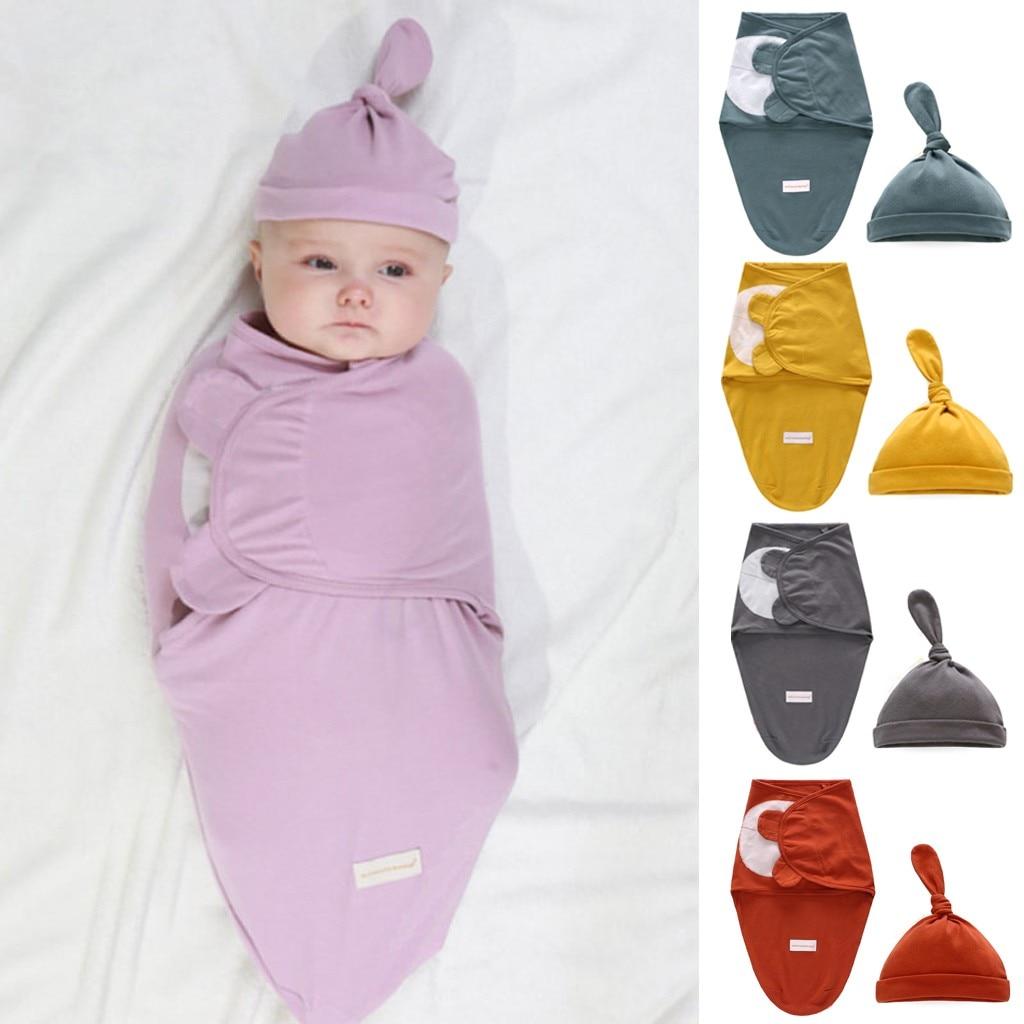 Traje para 0-6 meses bebé envoltura recién nacido manta de algodón orgánico saco de dormir Swaddle Hat Set alta calidad 2019 nuevo @ 45