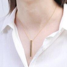 Collar de barra larga Vertical de cuatro lados grabado personalizado cuadrado personalizado nombre collar de acero inoxidable COLLAR COLGANTE de las mujeres