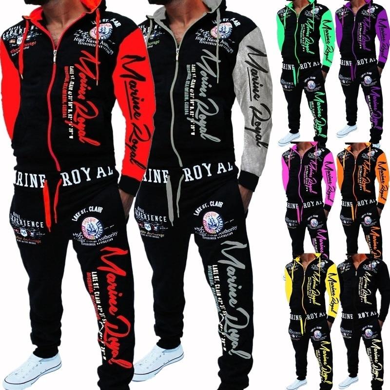 ZOGAA Brand Men Tracksuit 2 Piece Tops and Pants Mens Sweat Suits Set Letter Print Plus Size Jogger