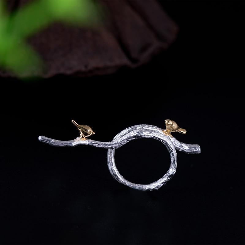 2021-новый-продукт-Настоящее-серебро-925-индивидуальный-дизайн-кольцо-«ветка»-Для-женщин-простой-птица-кольца-с-регулируемым-отверстием