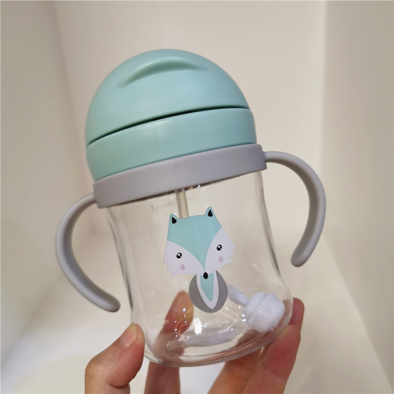 250ML Baby Feeding Bottle Kids Cup Silicone Sippy Children Leakproof Drinking Cups Cartoon Infant Straw Handle Drinkware