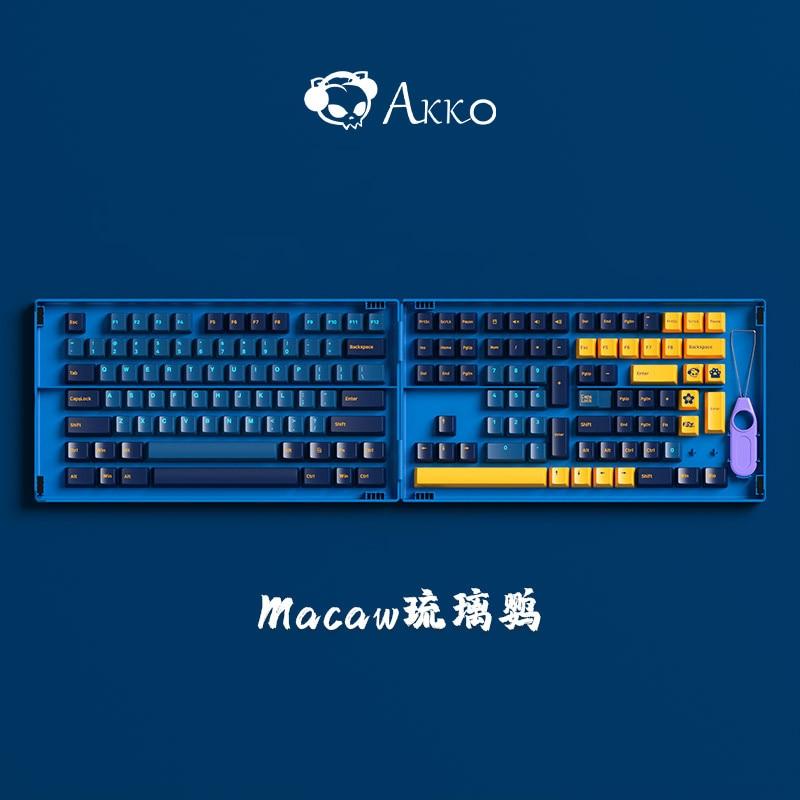 1 Set Akko النيون الكربون ريترو ماكاو psithemمفتاح غطاء ل MX التبديل لوحة المفاتيح الميكانيكية PBT مزدوجة النار keycap الكرز الشخصي