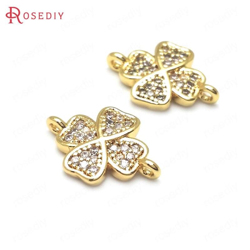 (C512) 4 peças 14x10mm 24 k cor de ouro bronze e zircão 2 furos flor sorte conectar encantos pingentes jóias descobertas acessórios