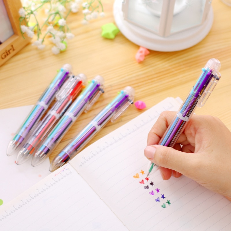 500pcs/set DHL Shipping Six In One Ball Pen Korea Creative Stationery Cute Multicolor Pen Multifunctional Office Stationery