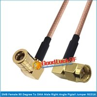 1x pcs smb female 90 degree right angle to sma male right angle 90 degree plug pigtail jumper rg316 cable coaxial 50 ohm