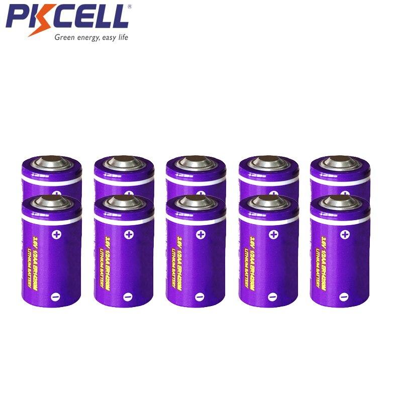 10 Uds PKCELL 3,6 V 1/2AA batería de litio ER14250M 750mah Li-SOCl2 baterías de uso único (tipo de potencia) para electrónica militar