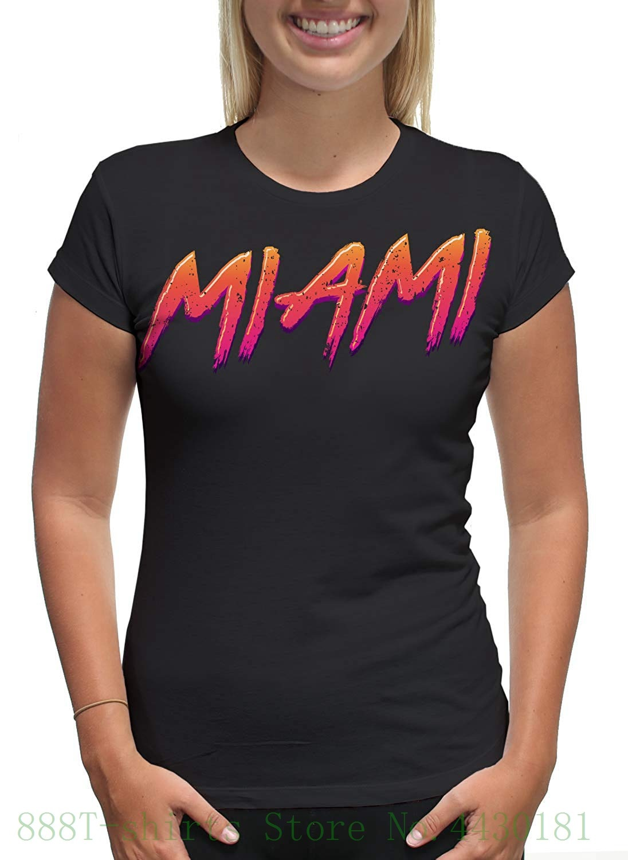 Womens Tee Womens Retro Vintage Miami Beach T Shirt 2018 Summer Style Casual Cotton Woman T Shirt