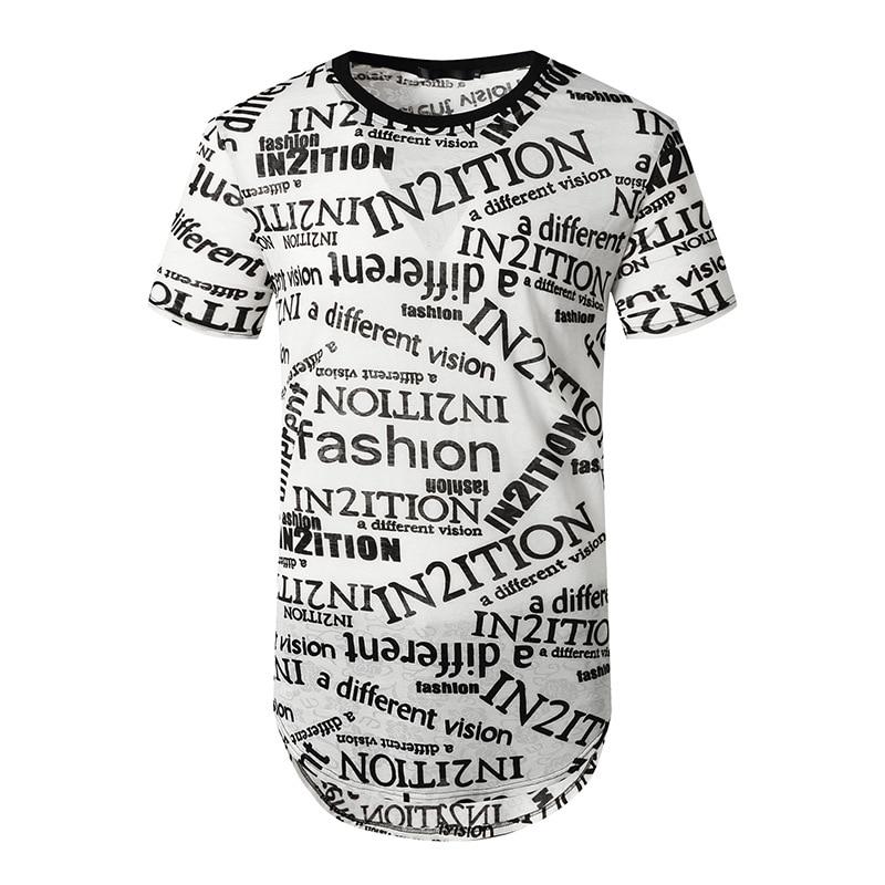 Letra del alfabeto inglés Extra larga Camiseta hombres 2020 marca Slim Fit Camiseta de manga corta hombres Hip Hop Hipster ropa de calle