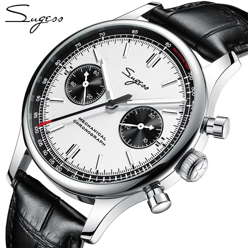 Sugess 1963 كرونوغراف الميكانيكية النورس حركة st1901 سوان الرقبة ساعة الرجال الياقوت 40 مللي متر المعادن ساعات يد رجالي 2020