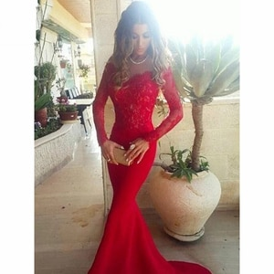 Red Long Sleeves Mermaid Evening Dresses Long with Lace Sweep Train  Chiffon Evening Vestidos De Festa Evening Dresses Long