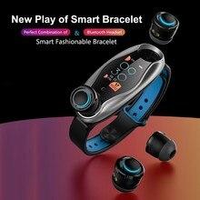 T90 Bluetooth écouteur TWS casque Bracelet intelligent 2 en 1 ensemble santé Fitness Sport bande intelligente montre étanche pour IOS Android