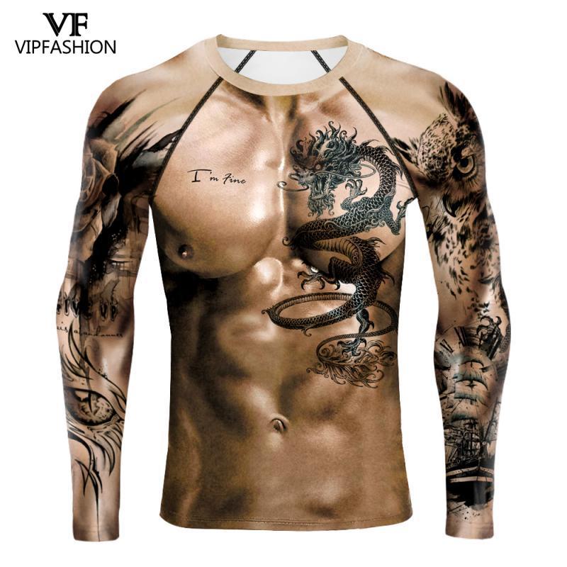 VIP MODE Muscle Lange Hemd Tops Nackt Gedruckt 3D Hemd gym Tee Shirt Streetwear Herren Coole Lustige Brust Muscle Fitness lange T
