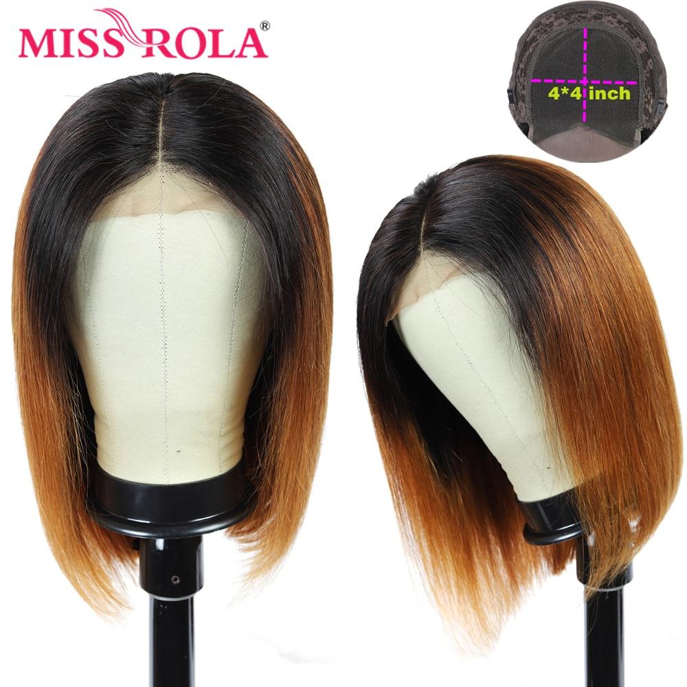 Miss Rola-شعر مستعار برازيلي طبيعي ، شعر ريمي عالي الجودة ، قص قصير وناعم ، 4*4 ، 1B30 ، 1B99J ، 1B27 99J ، كثافة 180%