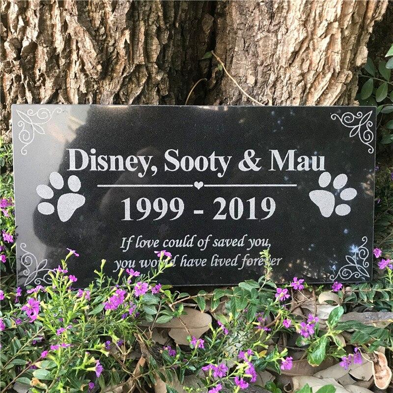 Animal de Estimação Marcadores para Cães Polegada Personalizado Jardim Pedras Pata Impressão ou Gatos Absoluto Preto Granito Placa Jsy 12 × 6