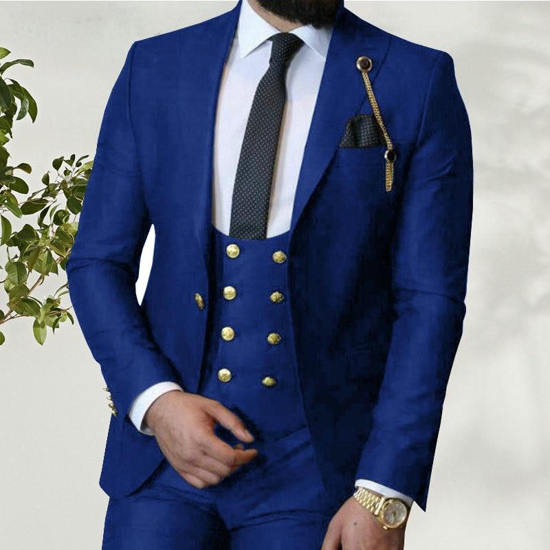 Костюм Homme 2021 итальянский деловой облегающий мужской костюм из 3 предметов Королевского синего цвета смокинги для жениха на выпускной мужск...