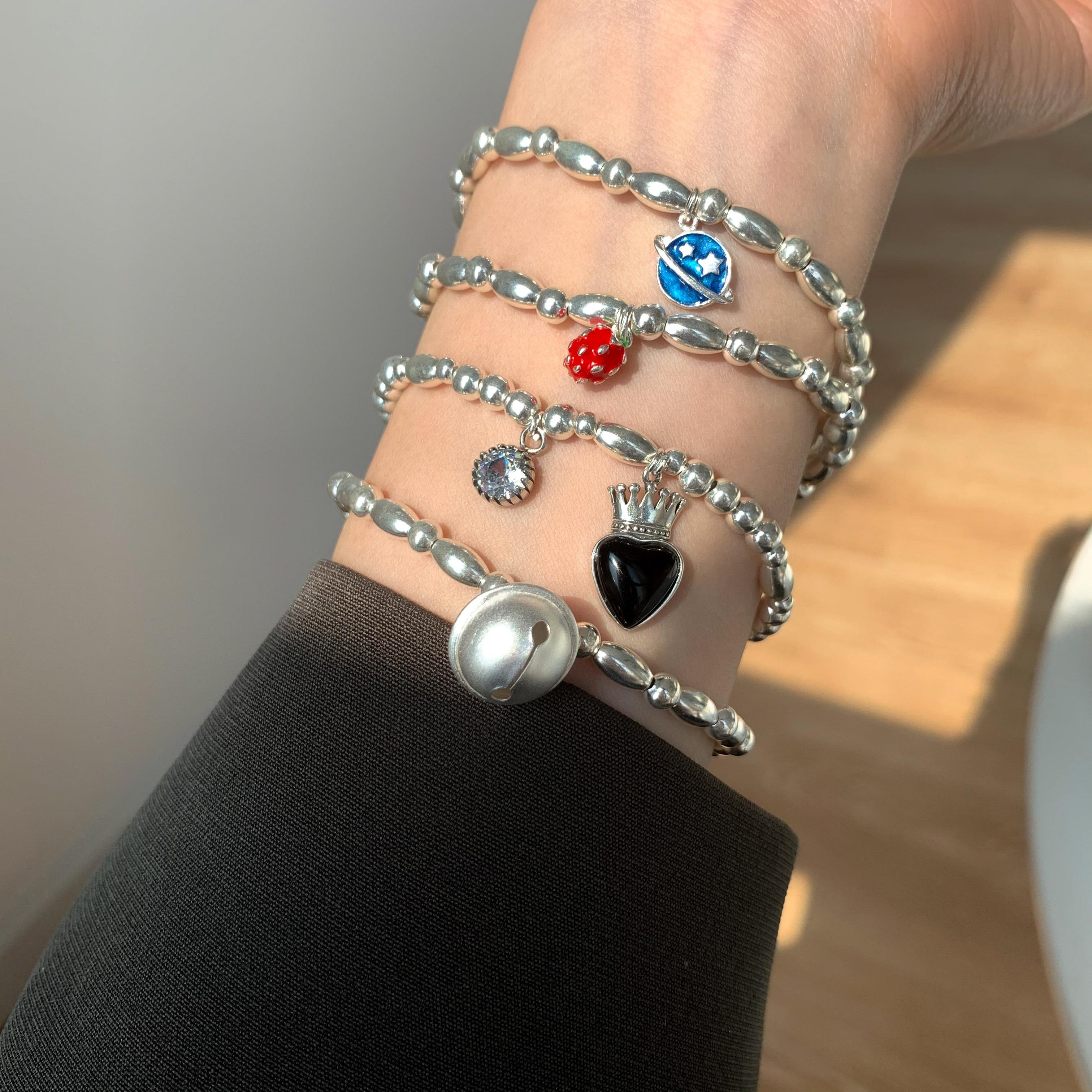 For the Evening Rice Bead Bracelet Female Sterling Silver Temperamental Advanced Elegant Niche Ins H