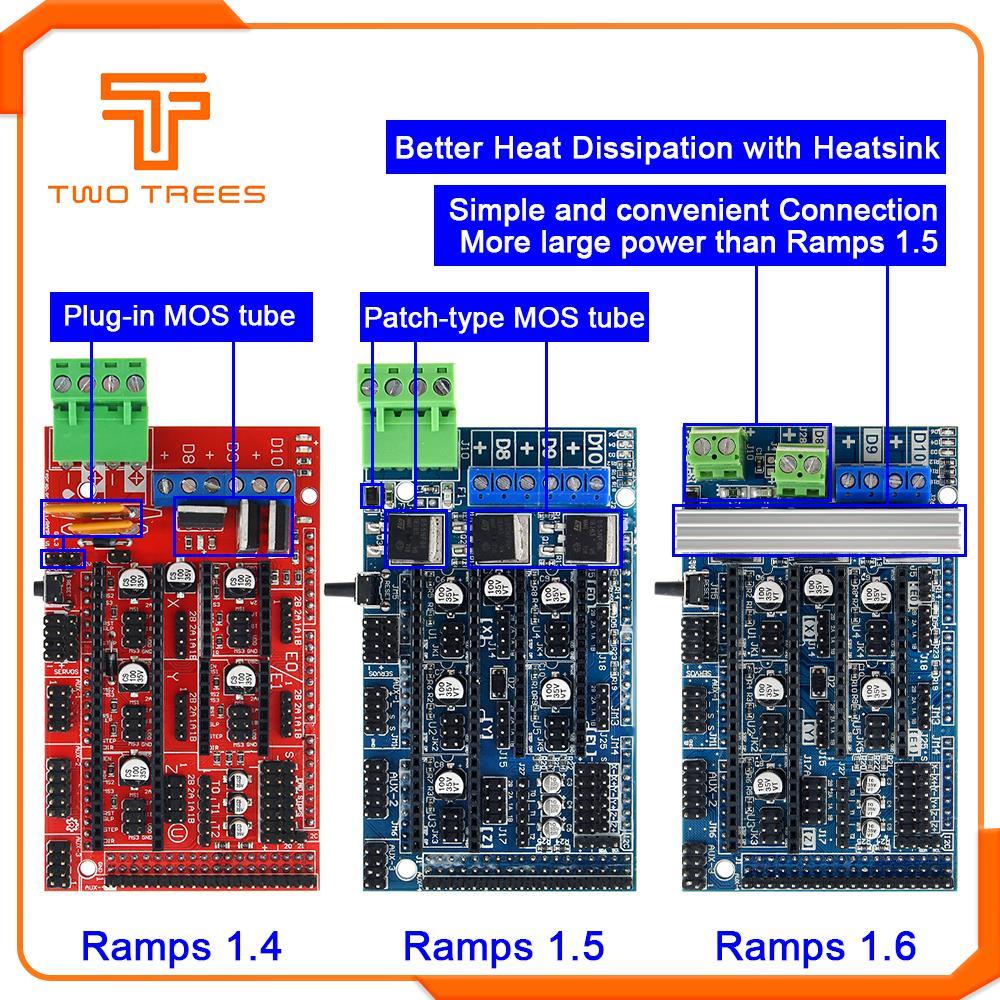 Ramps 1,6 панель управления расширения с радиатором модернизированная Ramps 1,4/1,5 Для arduino 3d принтер доска