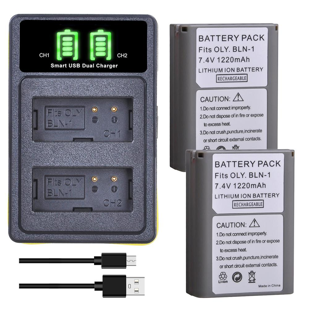 1220mAh PS-BLN1 BLN-1 batería + LED Dual cargador tipo C Por para Olympus OM-D E-M1 E-M5 Mark II PEN-F E-P5 EM1 EM5 PENF EP5