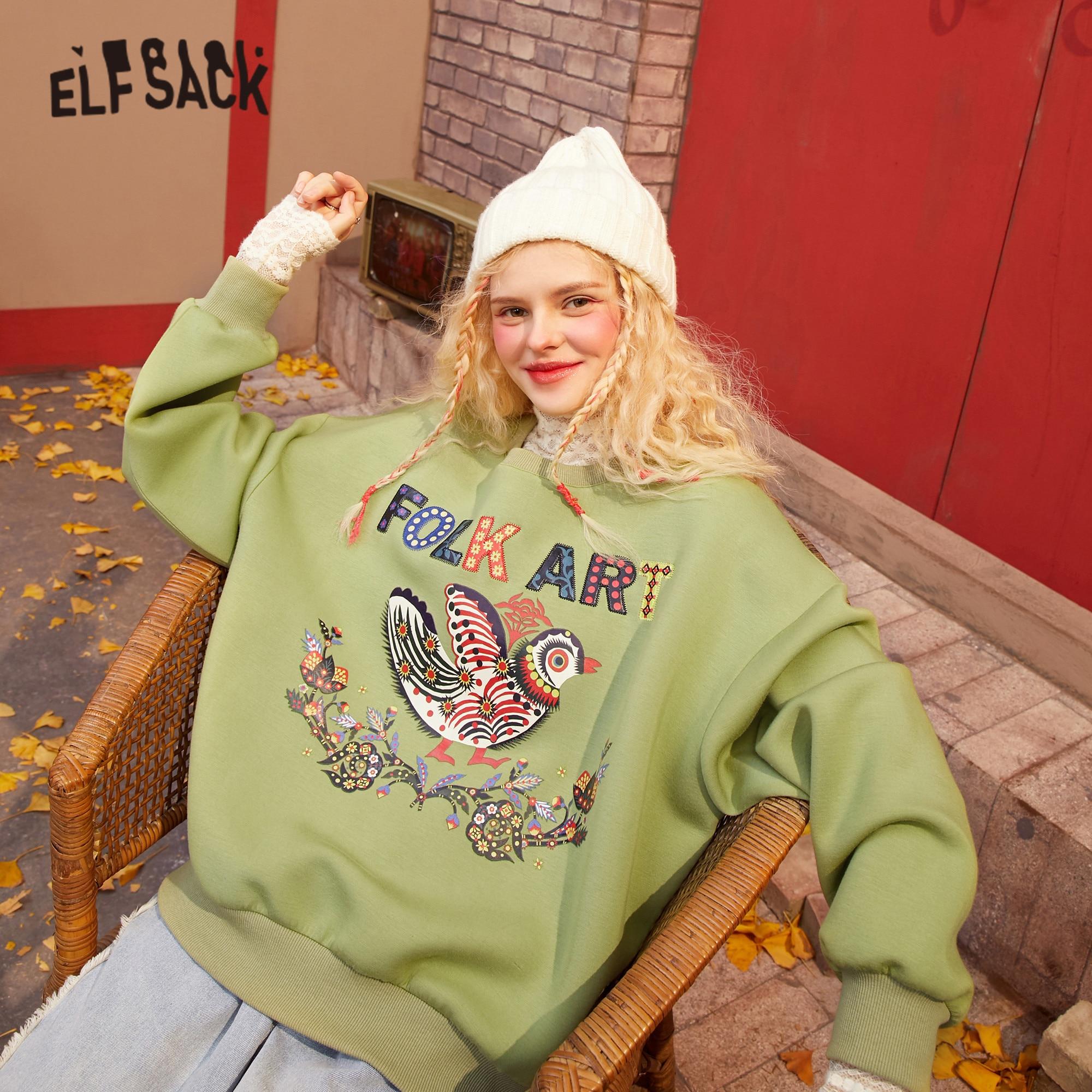 elfsack harajuku impressao grafica casual pulover moletom feminino 2021 primavera