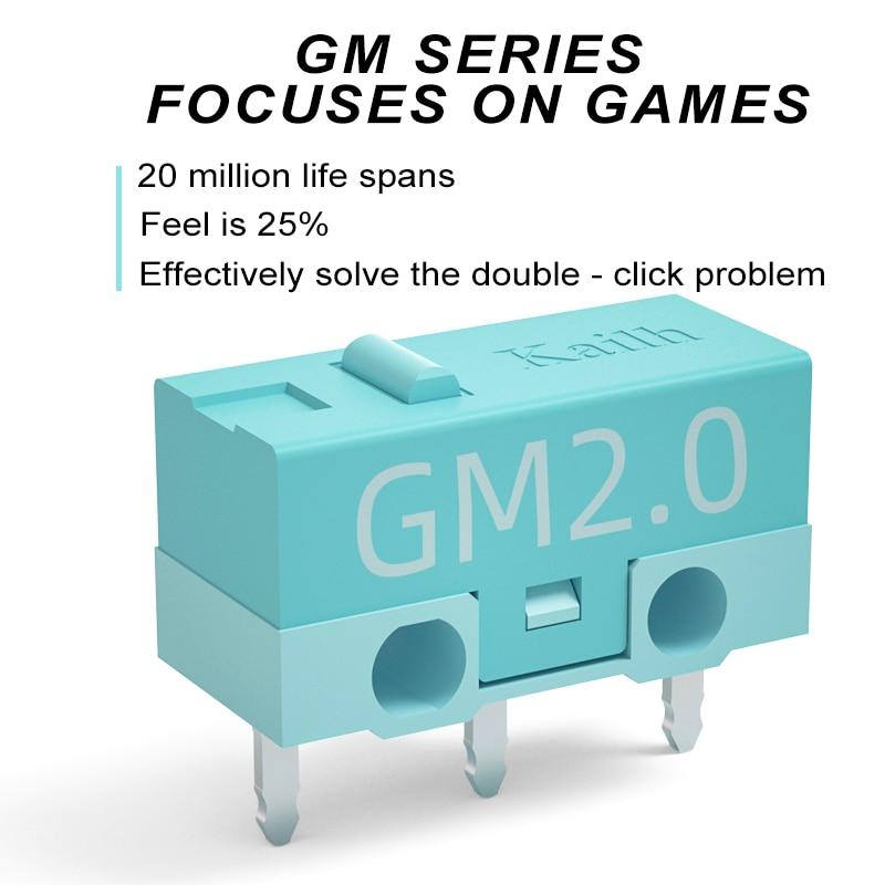 Микро-переключатель Kailh GM2.0, игровая мышь с жизнью 20 м, 3-контактный микро-переключатель, синяя, для компьютерных мышей, Левая Правая кнопка, 8 ...