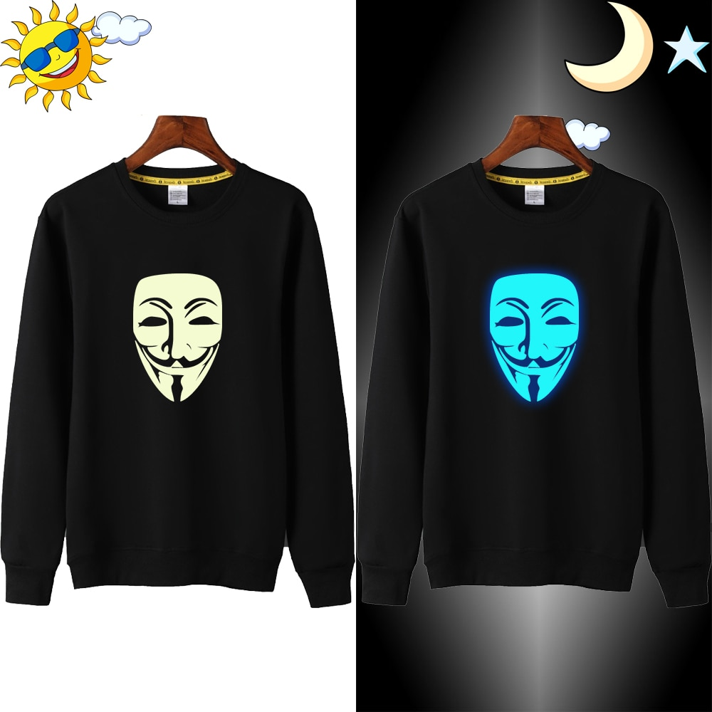 2607# V for Vendetta Costume 3D Sweatshirt for Children Anime Horror Sweatshirts Teenagers Bluza Chlopieca Glow Hoodie Kids Girl
