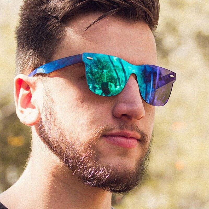 2020 New Classic Rimless Square Sunglasses Men Luxury Brand Designer Flat Top One Piece Sun Glasses