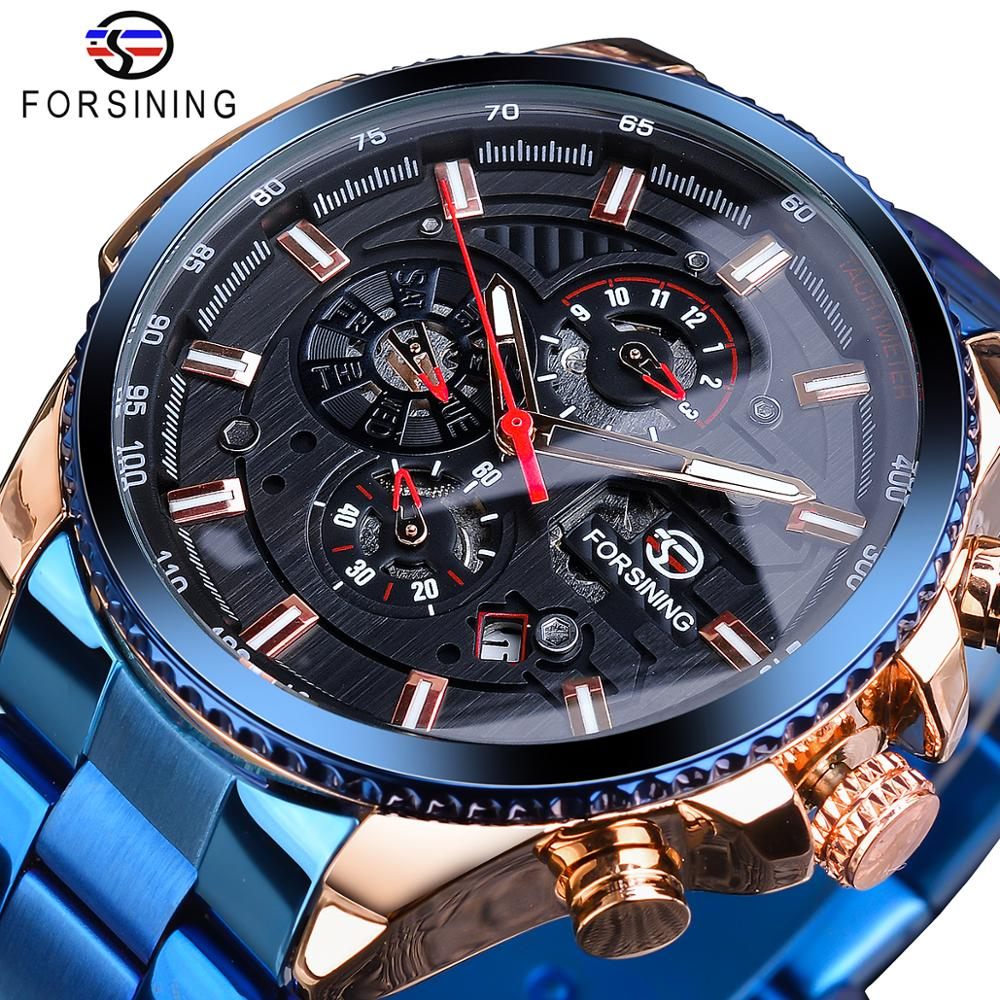 forsining luxury brand men vintage automatic watches male fashion auto date mechanical wristwatches rome dial real leather band Forsining Three Dial Calendar Stainless Steel Mens Automatic Mechanical Sport Wrist Watches Top Brand Luxury Sport Male Clock