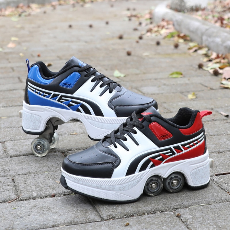 Children's Breathable Walking Sneaker Invisible Double Wheel Fashion Roller Skate Shoes Boys Girls Heely Shoes Deformation Shoes