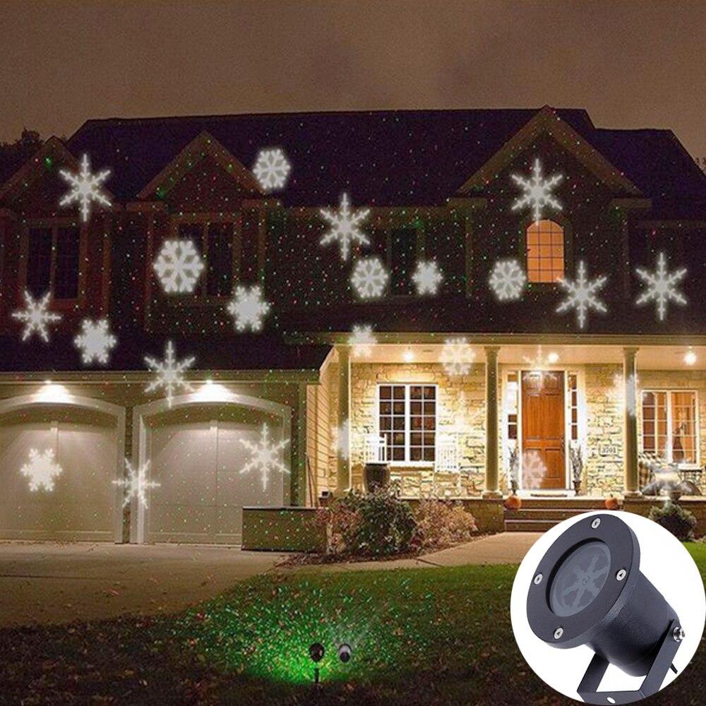 Lámpara giratoria de proyección de nieve LED luces de Navidad al aire libre impermeable nieve caída Luz de proyección para vacaciones